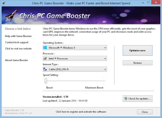 Chris-PC Game Booster - Make your PC Faster and Boost Internet Speed